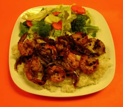 Garlic Shrimp on Rice